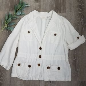 CHICO'S White Linen Roll Cuff Sleeve Jacket 2|L